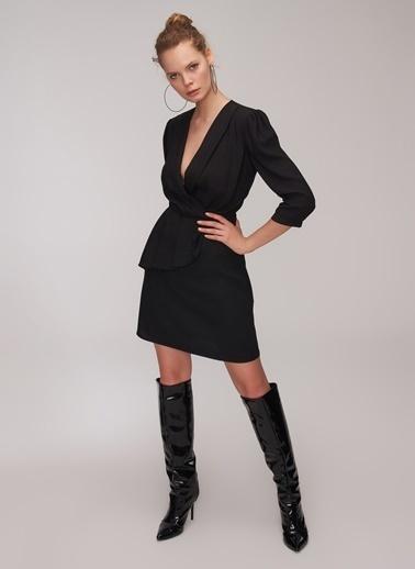 People By Fabrika Kruvaze Volanlı Elbise Siyah